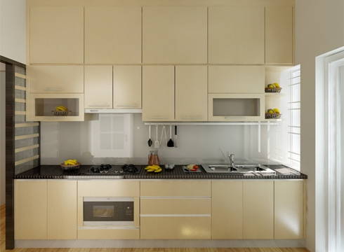 Tủ bếp thiết kế chữ I - Kiểu 1