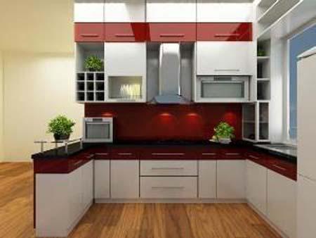 Tủ bếp thiết kế chữ U - Kiểu 2