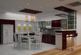 Tủ bếp thiết kế chữ U - Kiểu 1