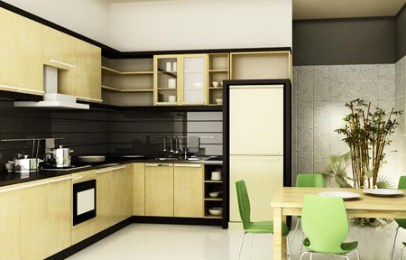 Tủ bếp thiết kế chữ L - Kiểu 6